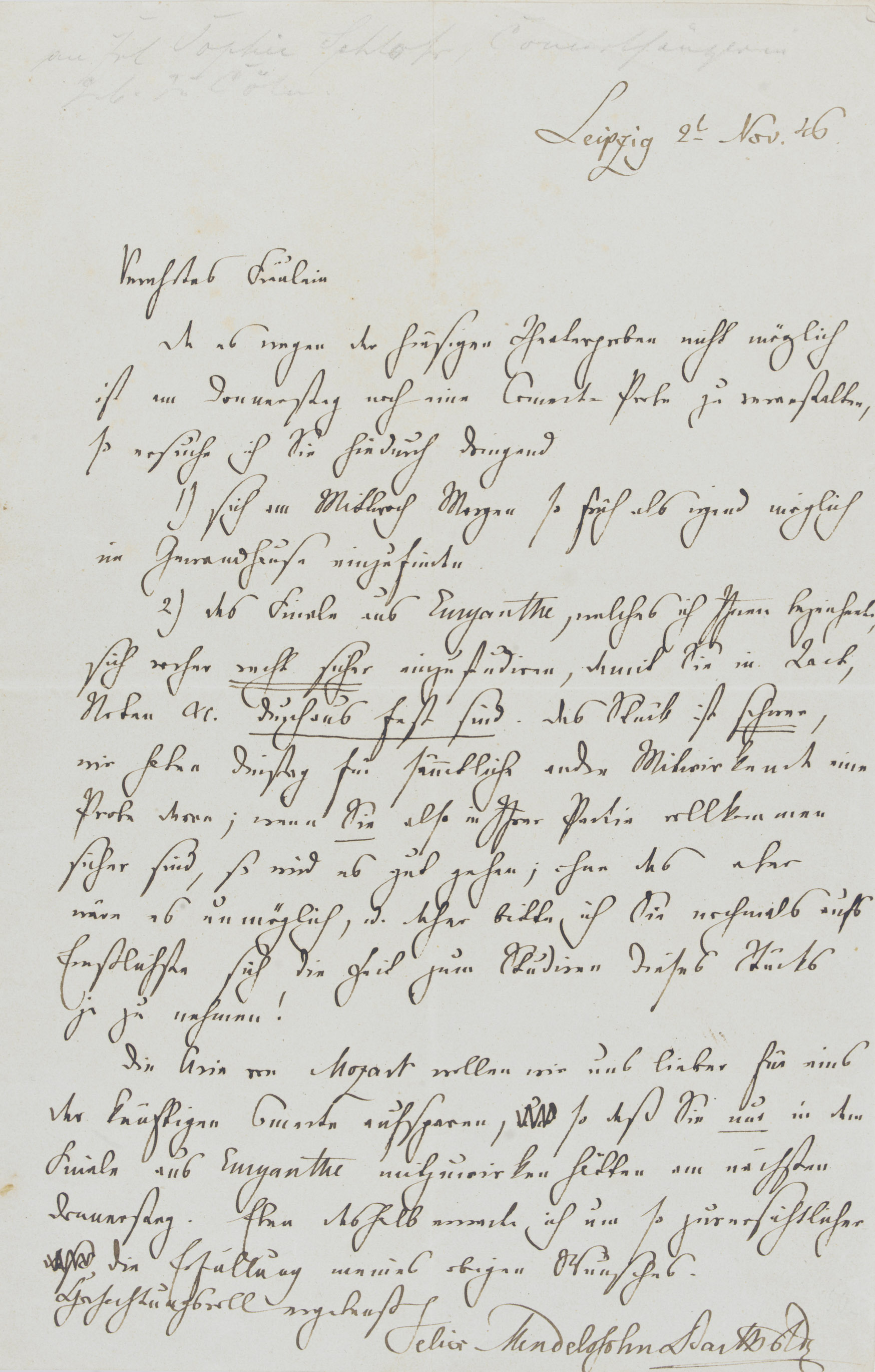 MENDELSSOHN BARTHOLDY, Felix (1809-1847). Autograph letter signed ('Felix Mendelssohn Bartholdy') to [the singer Sophie Schloss], Leipzig, 2 November 1846, asking her to attend a rehearsal of the finale from Weber's Euryanthe at the Gewandhaus on the following Wednesday 'so früh als möglich', having previously studied her part with the utmost attention, 'so as to be absolutely secure in bar, notes etc. The piece is hard ...; if you are absolutely sure in your part, it will go well; otherwise it will be impossible', reemphasising therefore the importance of her preparation, especially as the Mozart aria is to be held back for another occasion ('Das Stück ist schwer ...; wenn Sie also in Ihrer Partie vollkommen sicher sind, so wird es gut gehen; ohne das aber wäre es unmöglich'), one page, 8vo, on a bifolium.